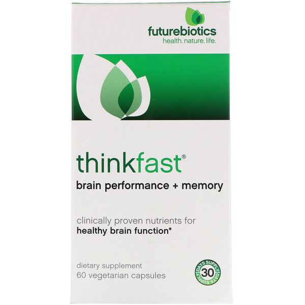 FutureBiotics, ThinkFast, rendimiento + memoria del cerebro, 60 cápsulas vegetarianas