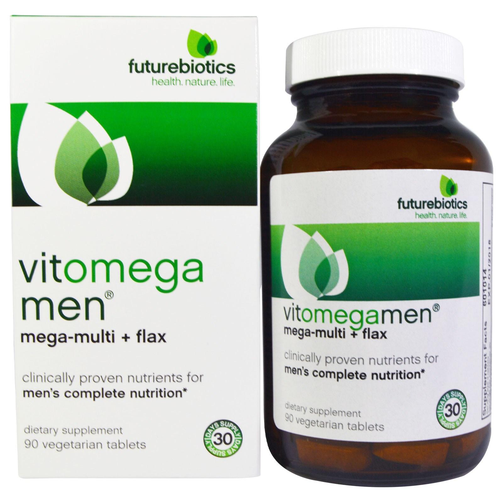 FutureBiotics, VitOmegaMen, мегамультивитамины + льняное масло, 90 вегетарианских таблеток