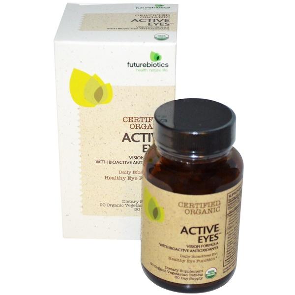 FutureBiotics, Active Eyes, Vision Formula with Bioactive Antioxidants, 90 Organic Veggie Tabs (Discontinued Item)