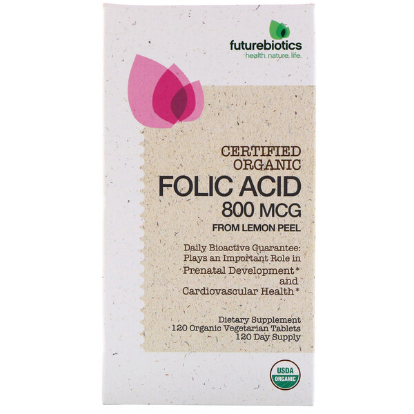 Folic Acid From Lemon Peel, 800 mcg, 120 Organic Vegetarian Tablets