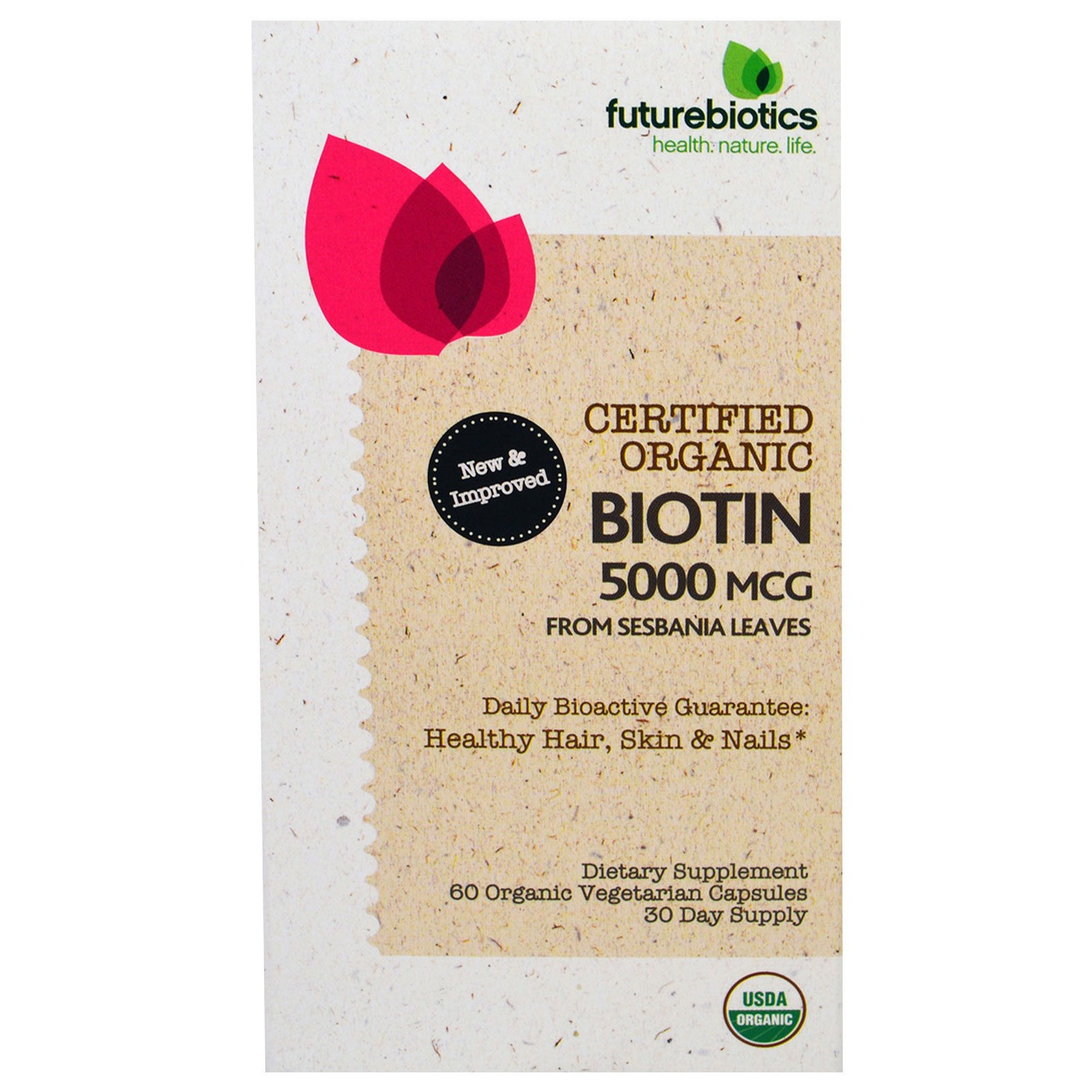 FutureBiotics, Органический Биотин, 5000 мг, 60 Органических Растительных капсул