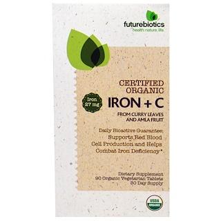 FutureBiotics, Certified Organic Iron + C, 90 Organic Veggie Tablets