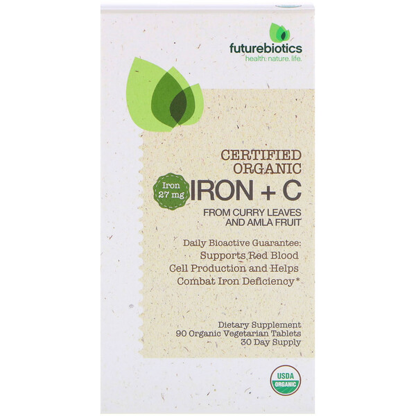 FutureBiotics, Certified Organic Iron + C, 90 Organic Vegetarian Tablets