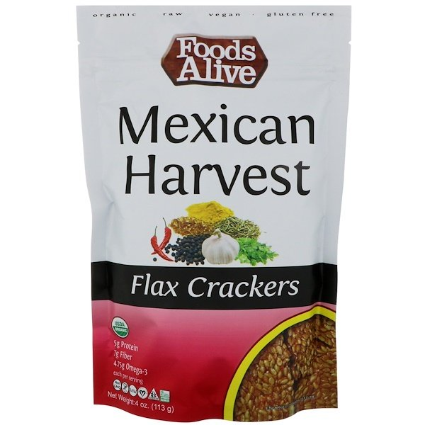 Foods Alive, Flax Crackers, Mexican Harvest, 4 oz (113 g) (Discontinued Item)