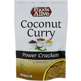 Foods Alive, galletas potentes, coco y curry, 3 oz (85 g)