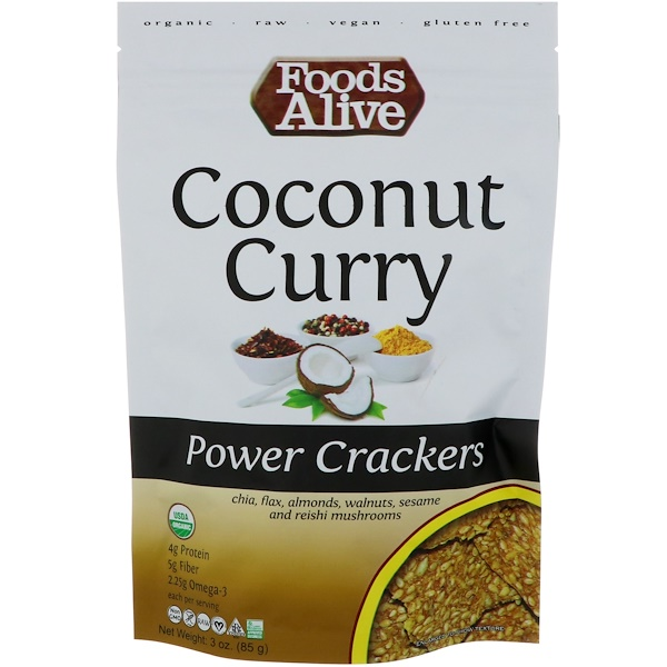 Foods Alive, Power Crackers, Coconut Curry, 3 oz (85 g)