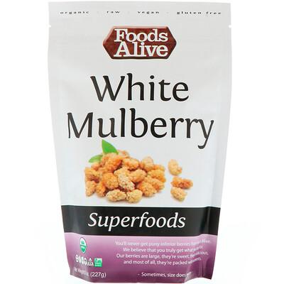 Foods Alive Чудо-пища, шелковица белая, 8 унц. (227 г)  - купить со скидкой