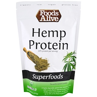 Foods Alive, Organic, Superfoods, Hemp Protein Powder, 8 oz (227 g)