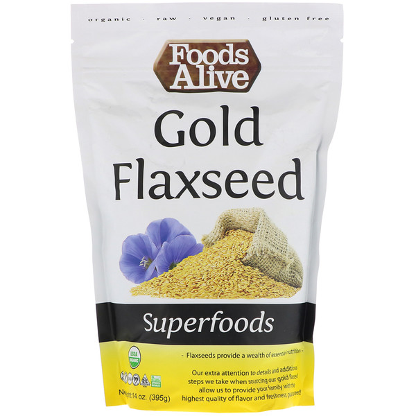 Foods Alive, Superfoods, Gold Flaxseed, 14 oz (395 g) (Discontinued Item)
