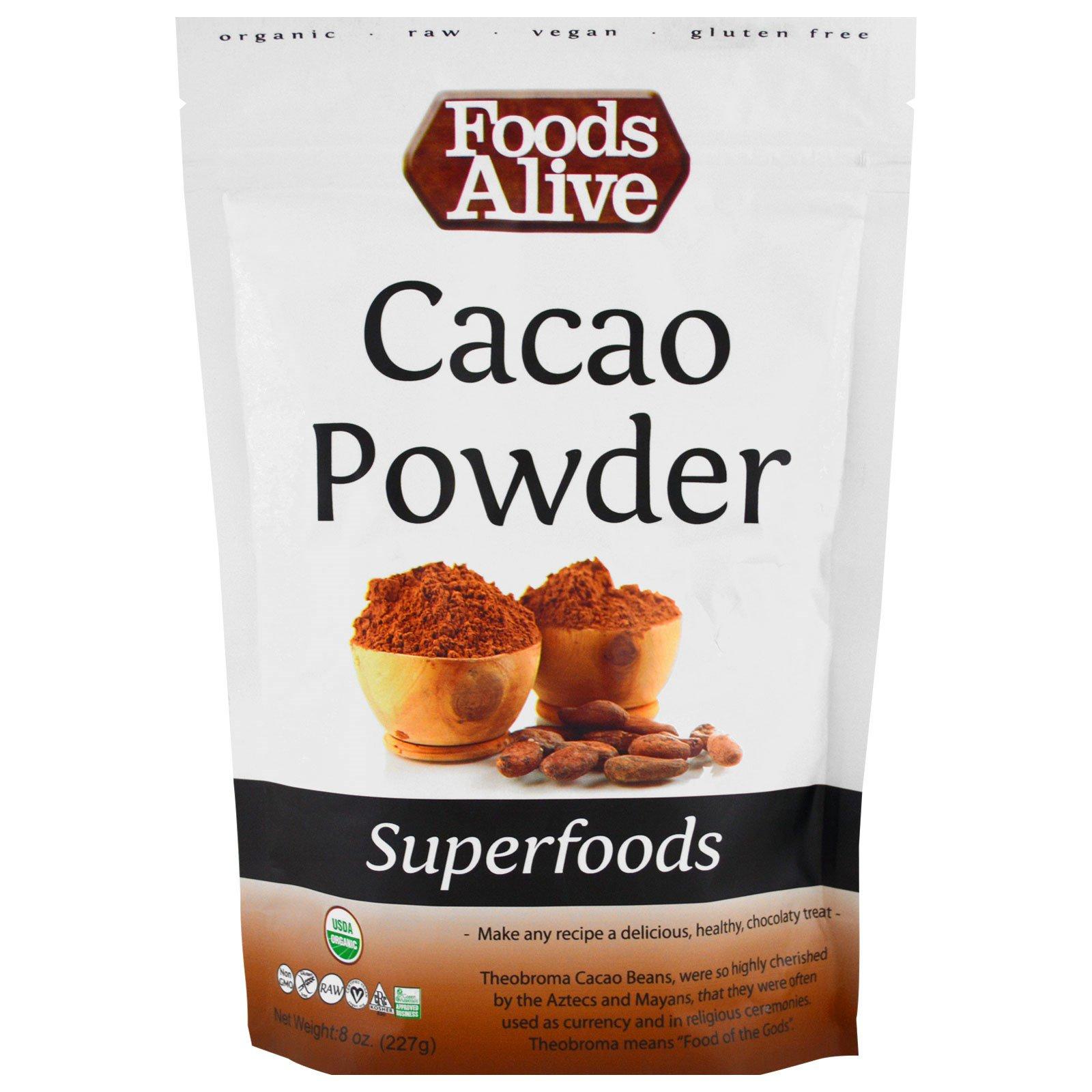 Foods Alive, Суперпродукты, какао-порошок, 227 г (8 унций)