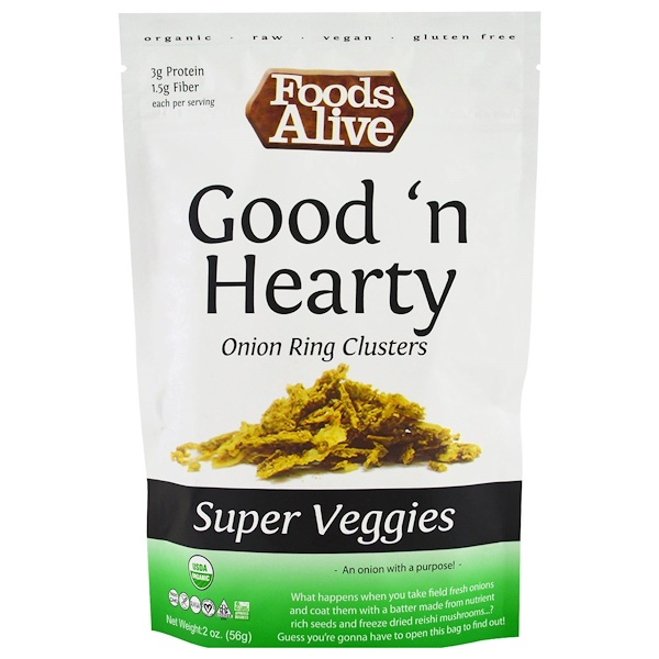 Foods Alive, Super Veggies, Good 'n Hearty, Onion Ring Clusters, 2 oz (56 g) (Discontinued Item)