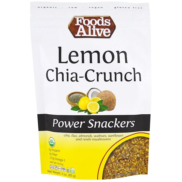 Foods Alive, Power Snackers, Lemon Chia-Crunch, 3 oz (85 g) (Discontinued Item)