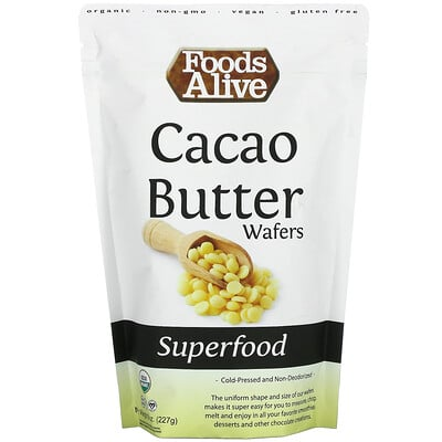 Foods Alive Superfood, Cacao Butter Wafers, 8 oz (227 g)