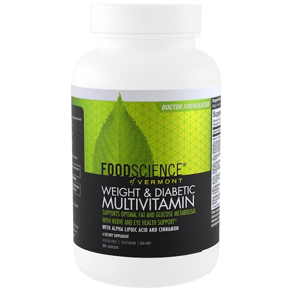 FoodScience, Weight & Diabetic Multivitamin, 90 Caplets (Discontinued Item)