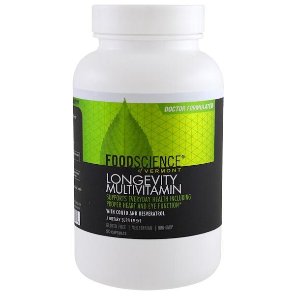 FoodScience, Longevity Support Multivitamin, 90 Capsules (Discontinued Item)