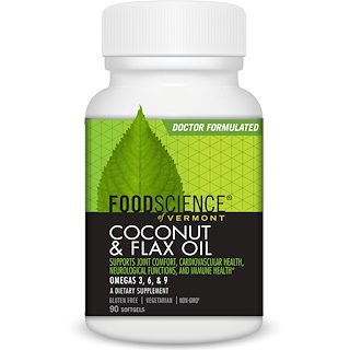 FoodScience, Coconut & Flax Oil, 90 Softgels