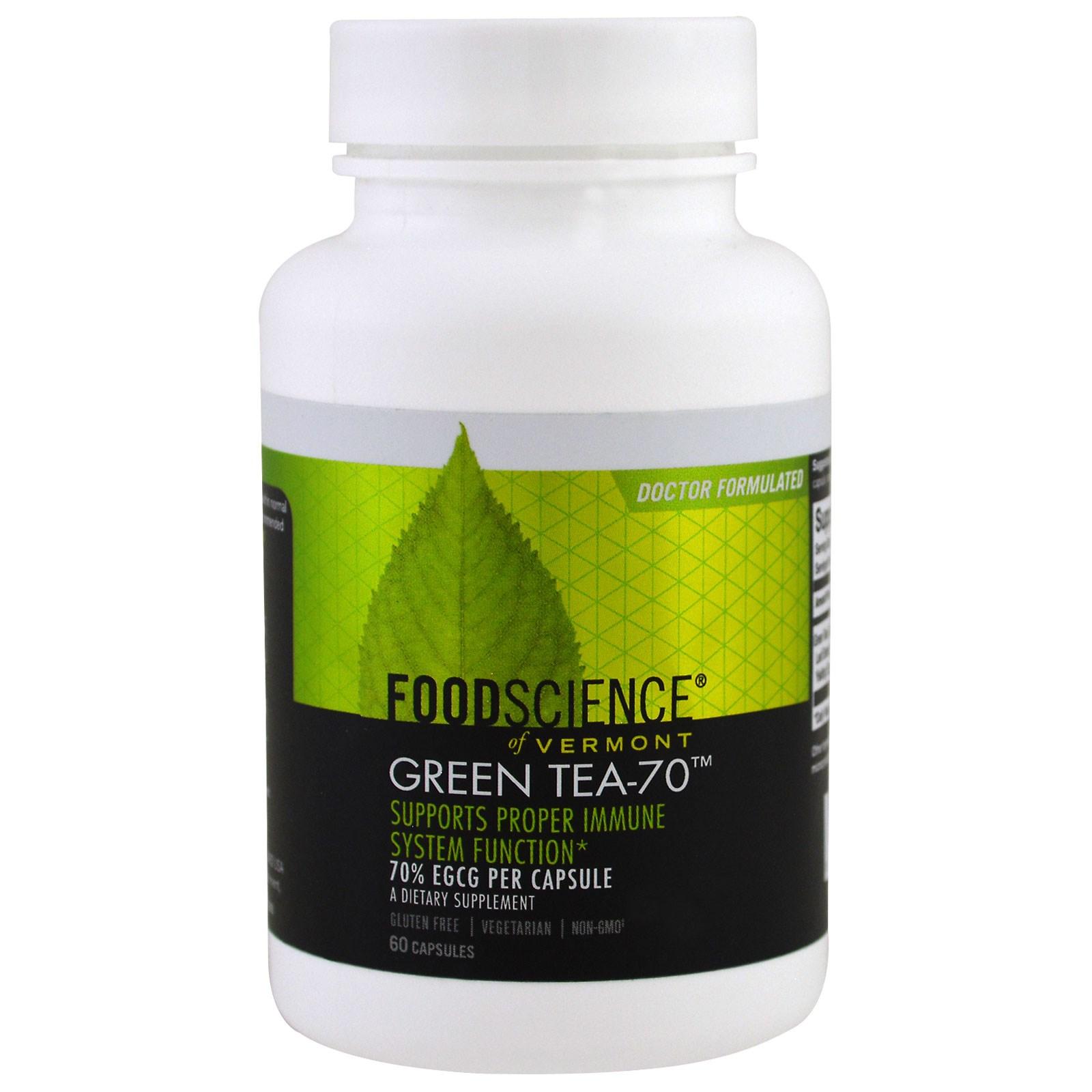 FoodScience, Зеленый чай -70, декафинированный, 60 капсул