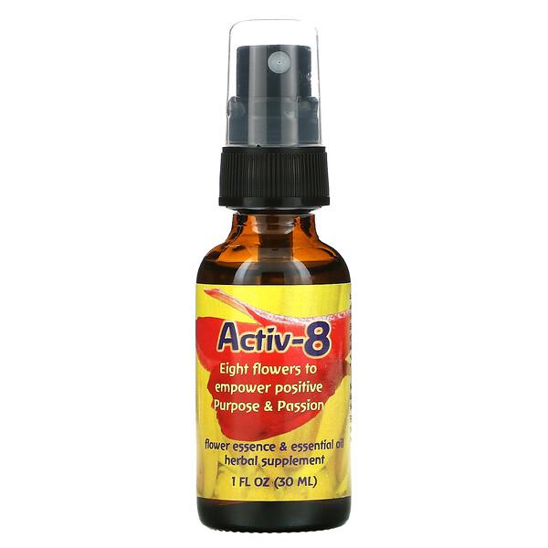 Activ-8(アクティブ-8)、フラワーエッセンス&エッセンシャルオイル、30ml(1液量オンス)
