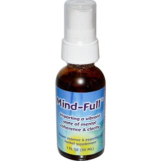 Flower Essence Services, Mind-Full, esencia floral y aceite esencial, 1 oz líquida (30ml)