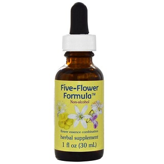 Flower Essence Services, Five-Flower Formula, Flower Essence Combination, Non-Alcohol, 1 fl oz (30 ml)