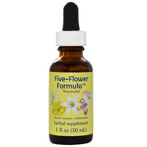 Flower Essence Services, Формула пять цветов, Цветочная эссенция, не содержащая спирта, 1 жидкая унция (30 мл) инструкция, применение, состав, противопоказания