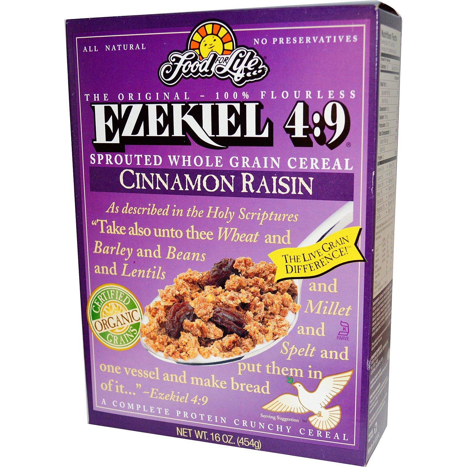 Food For Life, Ezekiel 4:9, Каша из пророщенных злаков с корицей и изюмом, 16 унций (454 г)