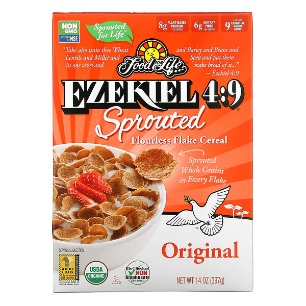 Food For Life, Ezekiel 4:9, Sprouted Flourless Flake Cereal, Original, 14 oz (397 g)