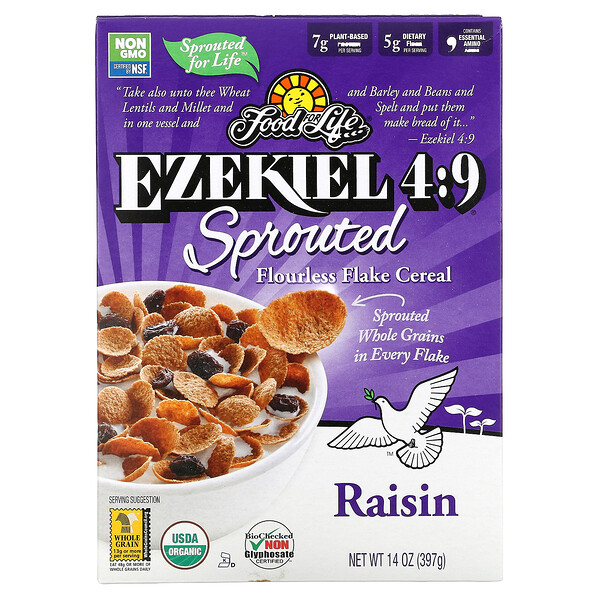 Food For Life, Ezekiel 4:9, Sprouted Flourless Flake Cereal, Raisin, 14 oz (397 g)