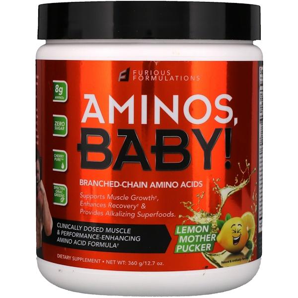 FURIOUS FORMULATIONS, Aminos, Baby!支鏈氨基酸,檸檬,12、7盎司(360克)