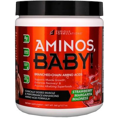 FURIOUS FORMULATIONS Aminos Baby!,支鏈氨基酸,草莓瑪格麗塔雞尾酒口味,12.7 盎司(360 克)
