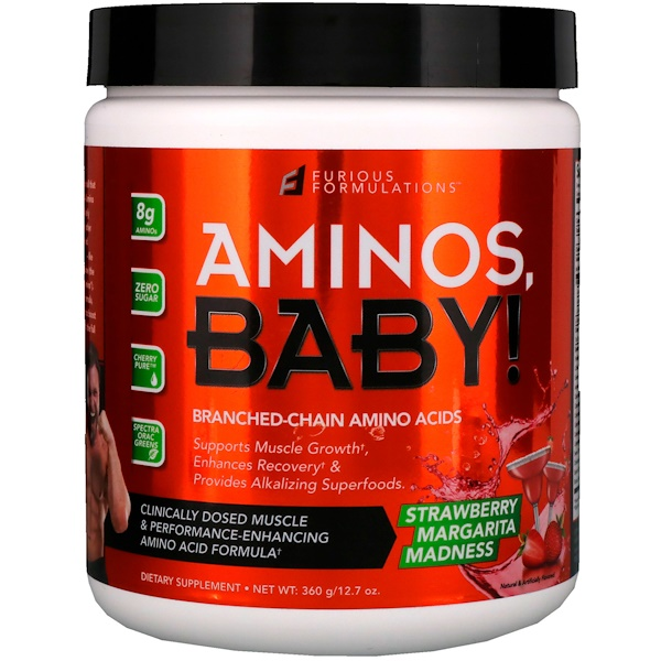 FURIOUS FORMULATIONS, Aminos Baby!, Branched-Chain Amino Acids, Strawberry Margarita Madness, 12.7 oz (360 g)