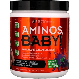 FURIOUS FORMULATIONS, Aminos Baby!, Branched-Chain Amino Acids, Grape Bubble Trubble, 12.7 oz (360 g)