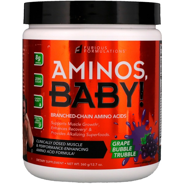 FURIOUS FORMULATIONS, Aminos Baby!支鏈氨基酸,葡萄泡泡糖,12、7盎司(360克)