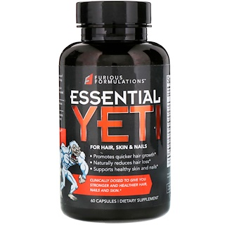 FURIOUS FORMULATIONS, Essential Yeti For Hair, Skin & Nails, 60 Capsules