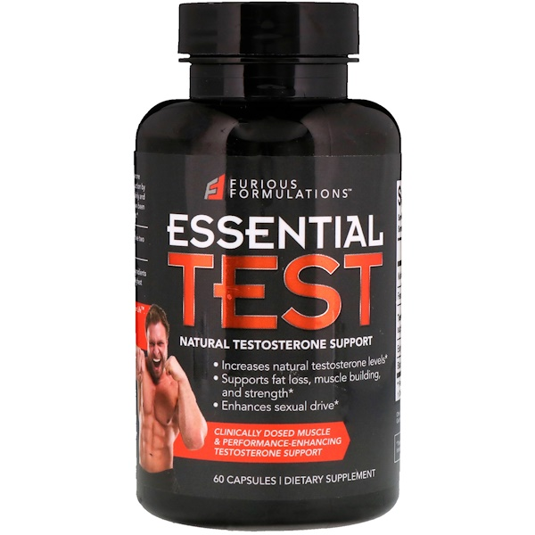 FURIOUS FORMULATIONS, Essential Test, Natural Testosterone Support, 60 Capsules (Discontinued Item)