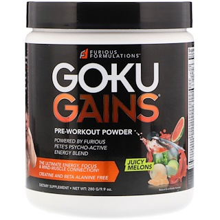 FURIOUS FORMULATIONS, Goku Gains Pre-Workout Powder, Juicy Melons, 9.9 oz (280 g)