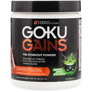 FURIOUS FORMULATIONS, Goku Gains порошок для приема перед тренировкой, зеленое яблоко, 280 г (9.9 oz)