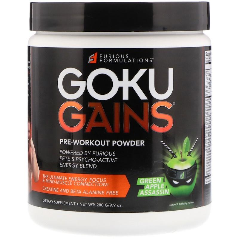 FURIOUS FORMULATIONS, Goku Gains Pre-Workout Powder, Green Apple Assassin, 9.9 oz (280 g)