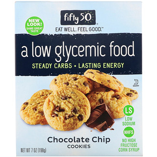 Fifty 50, Low Glycemic Chocolate Chip Cookies, 7 oz (198 g)
