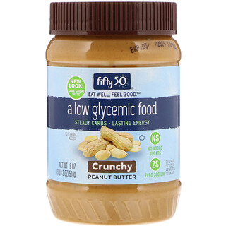 Fifty 50, Low Glycemic Peanut Butter, Crunchy, 18 oz (510 g)