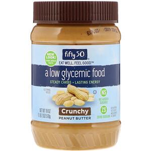 Фифти 50, Low Glycemic Peanut Butter, Crunchy, 18 oz (510 g) отзывы покупателей