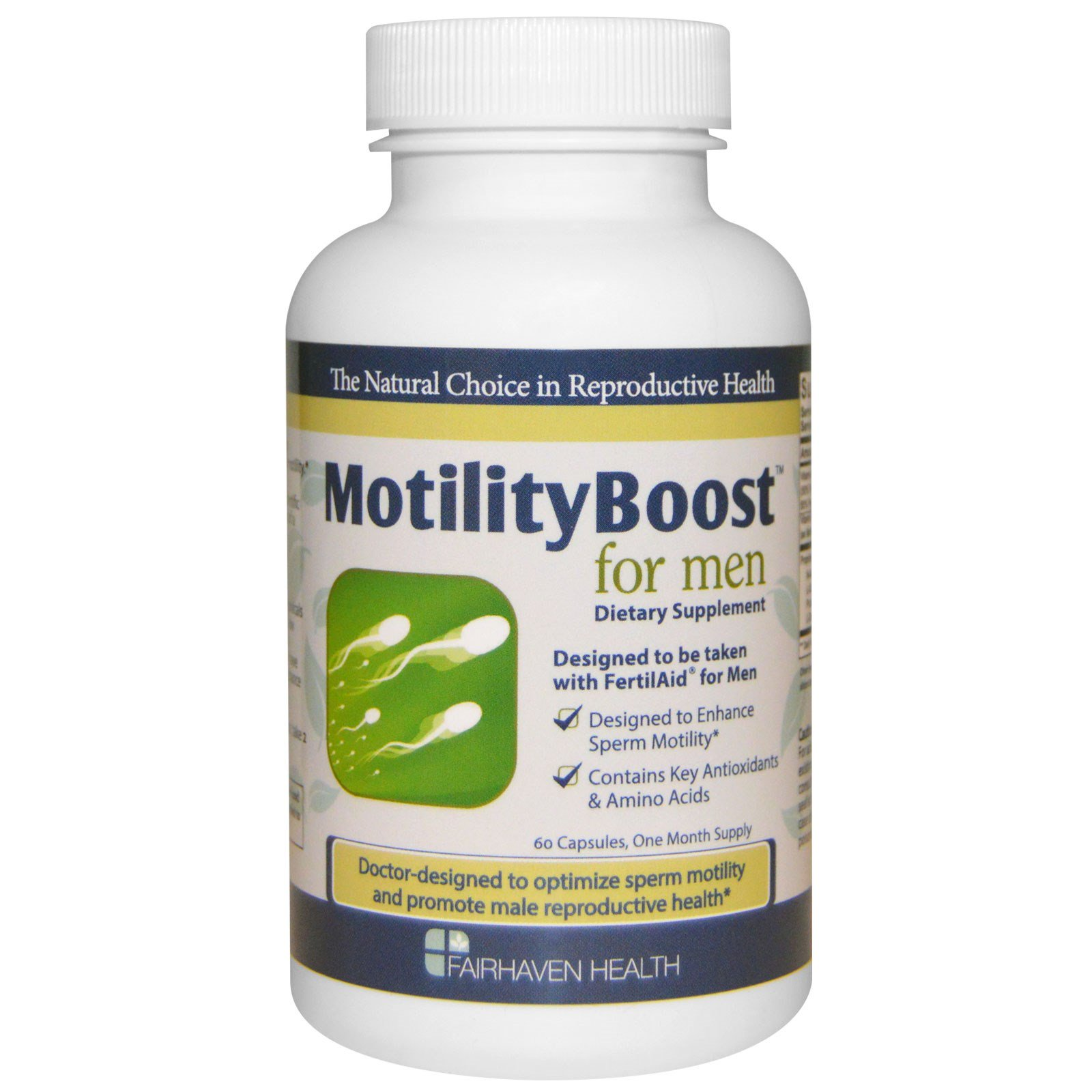 Fairhaven Health has developed two new products, CountBoost and MotilityBoost, which can be taken along with FertilAid for Men. These products contain additional nutrients that have been clinically demonstrated to benefit sperm count and motility.