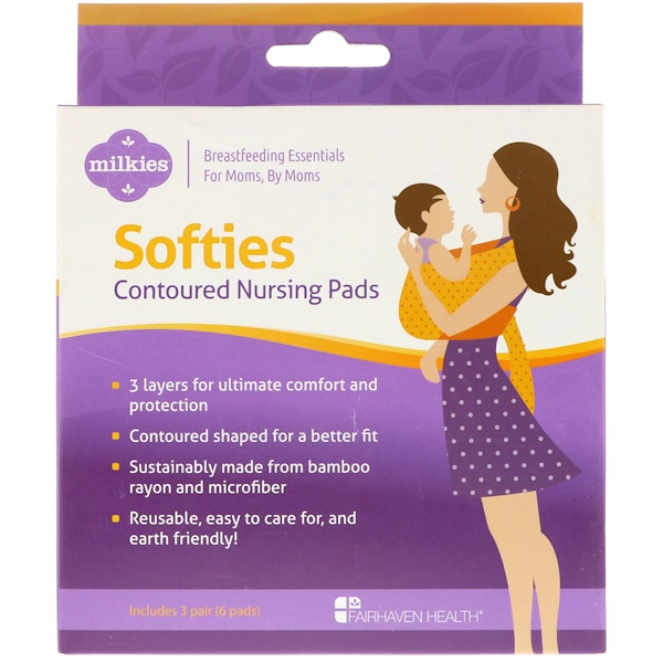 Fairhaven Health, Milkies, Softies, Contoured Reusable Nursing Pads, 3 Pairs (6 Pads) (Discontinued Item)
