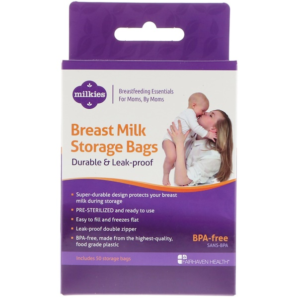 Fairhaven Health, Breast Milk Storage Bags, Durable & Leak-Proof, 50 Storage Bags (Discontinued Item)