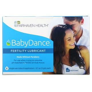 Fairhaven Health, BabyDance Fertility Lubricant, 6 Single-Use Tubes & Applicators, 0.1 oz (3 g) Each