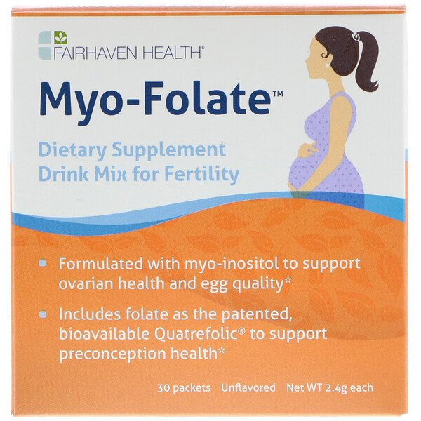 Myo-Folate, A Drinkable Fertility Supplement, Unflavored, 30 Packets, 2.4 g Each