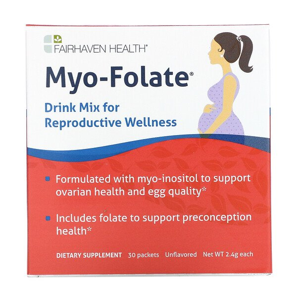 Fairhaven Health, Myo-Folate, Drink Mix for Reproductive Wellness, Unflavored, 30 Packets, 2.4 g Each