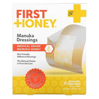 Купить First Honey Manuka Dressings, 6 Adhesive Bandages