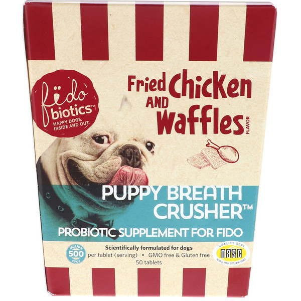 Fidobiotics, Puppy Breath Crusher, Probiotic Supplement For Fido, Fried Chicken And Waffles, 500 Million CFUs, 50 Tablets (Discontinued Item)