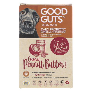 Fidobiotics, Good Guts, Daily Probiotic, For Big Mutts, Coconut Peanut Butter, 12 Billion CFUs, 1.4 oz (40 g)